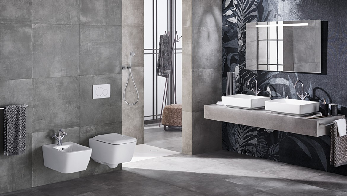 Geberit Badezimmer mit Waschbecken Variform quadratisch