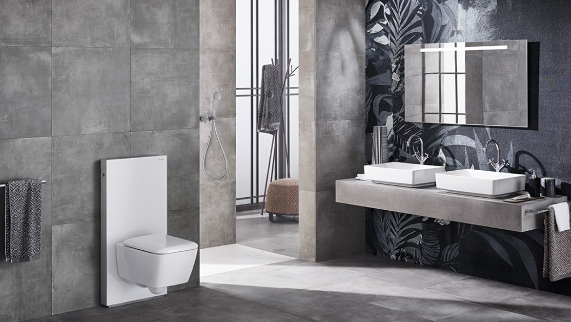 Bathroom with Geberit Monolith Plus sanitary module for WC