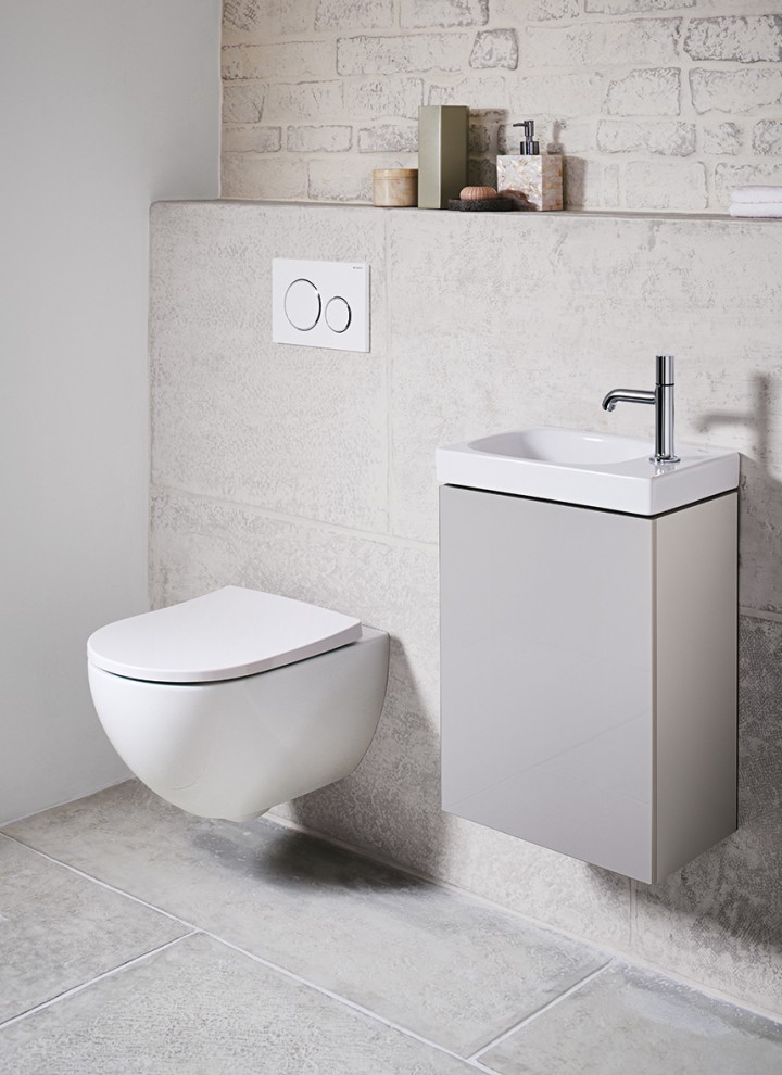 Wall-Hung Toilet and Wall-Hung Handrinse Basin in Cloakroom