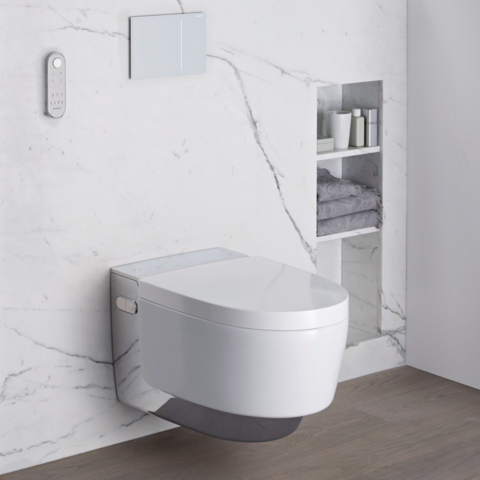 Barrier-free bathroom with Geberit AquaClean Mera