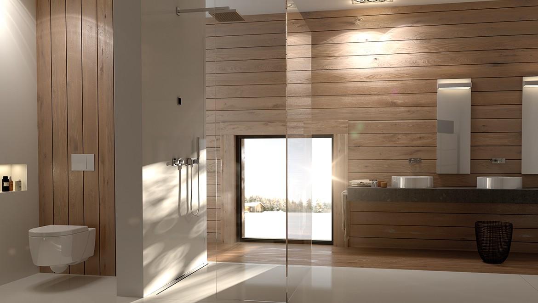 Salle de bains avec céramique de Geberit, déclenchement Geberit Sigma70 et écoulements de douche Geberit CleanLine