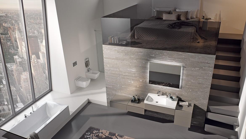 Salle de bains minimaliste avec la série de salle bain Geberit Xeno2