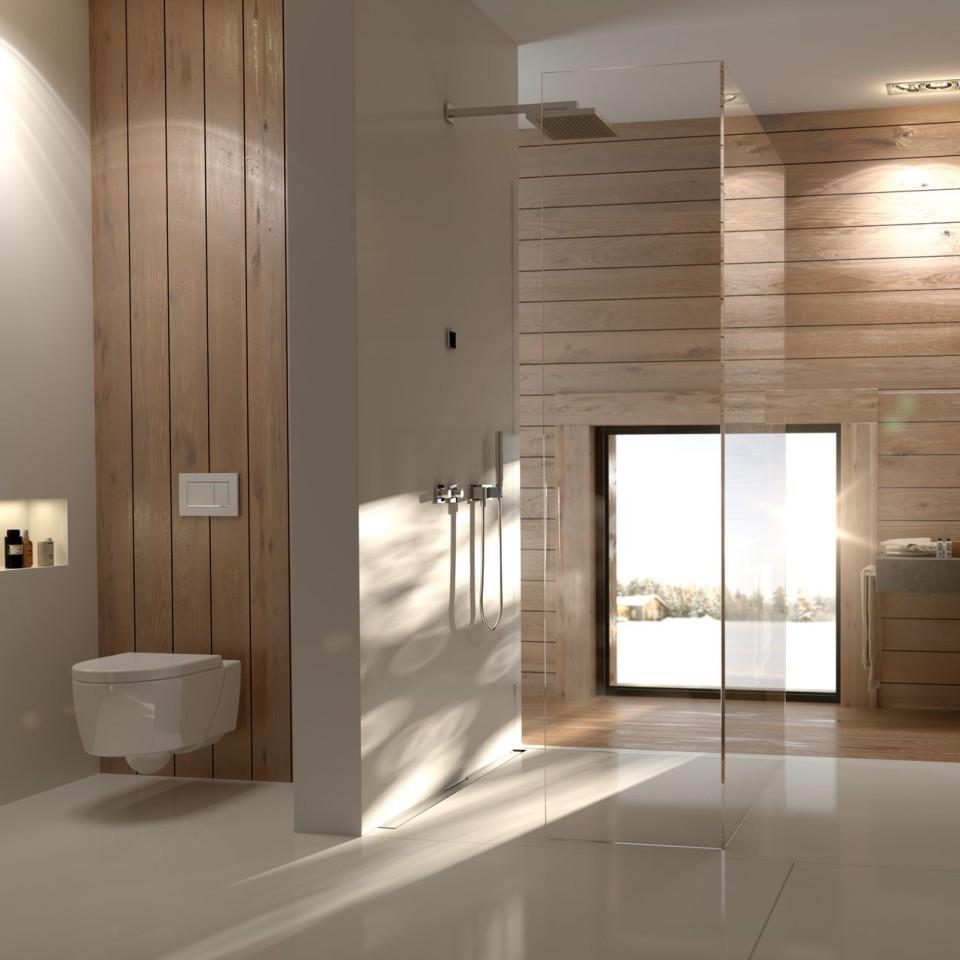 Bagno Geberit con pannelli in legno