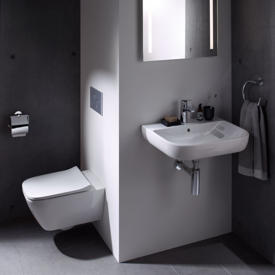 Verkürzte WC-Keramik der Badserie Geberit Smyle