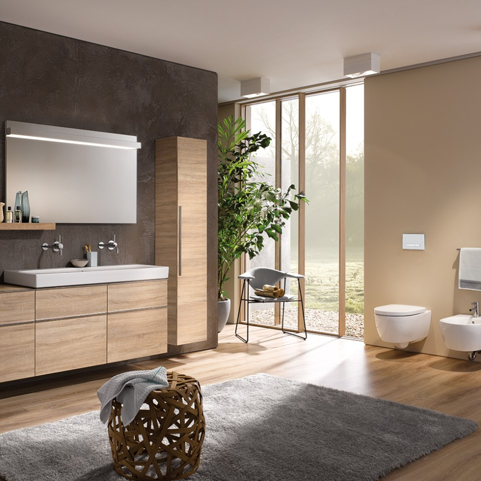 Geberit iCon bathroom with toilet, bidet, washbasin and furniture