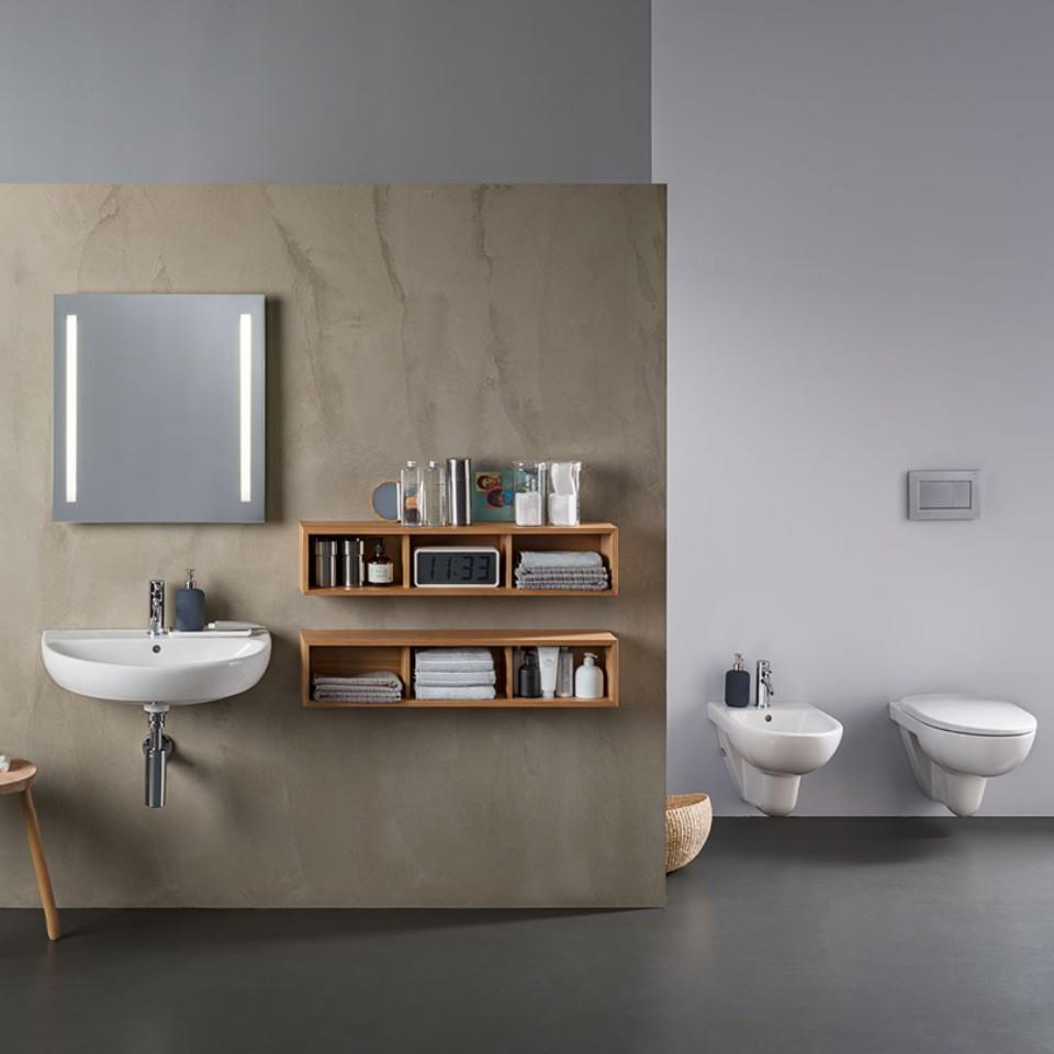 Bathroom with Geberit Selnova toilet, bidet and washbasin