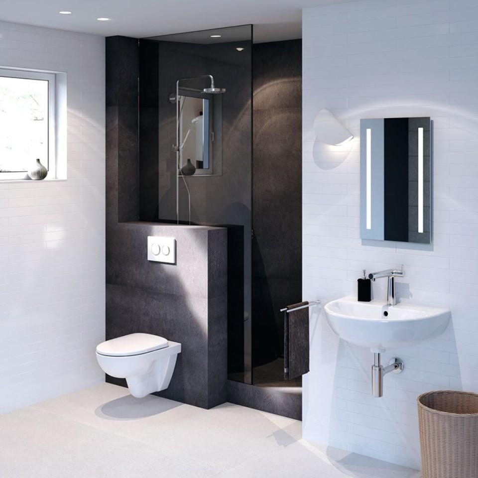 Bathroom with Geberit Selnova toilet and washbasin and Geberit actuatorplate Sigma21
