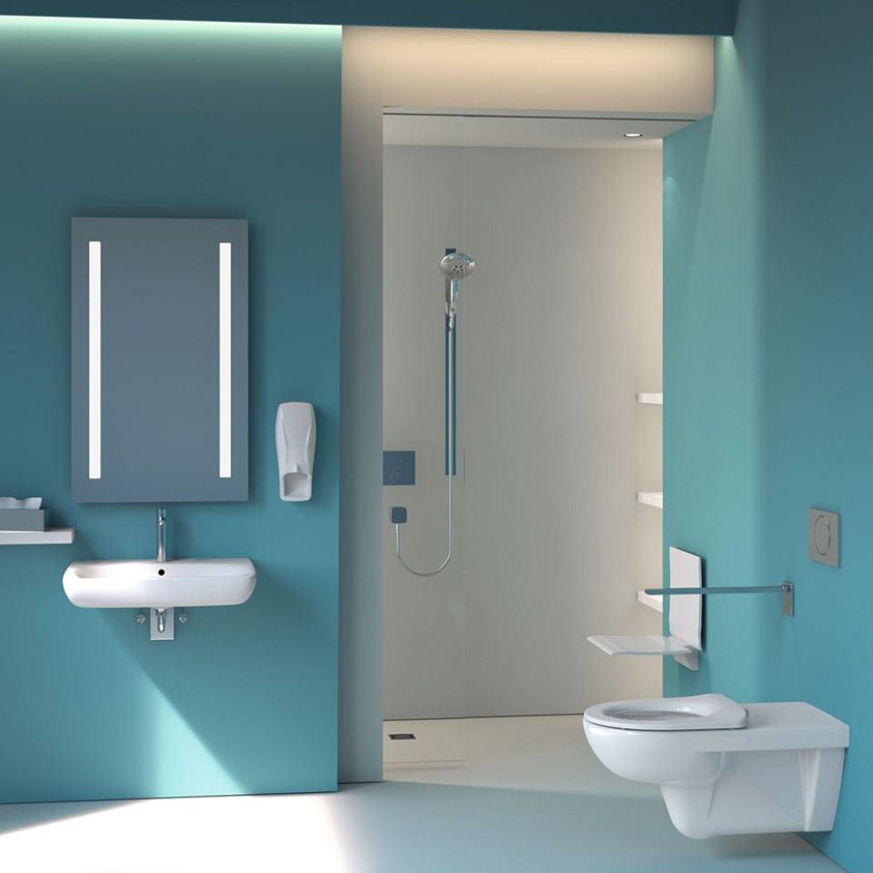 Geberit Selnova toilet and washbasin in a hospital