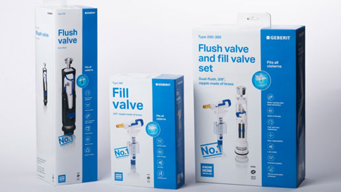 Geberit fill valve and flush valve as spare parts for cisterns