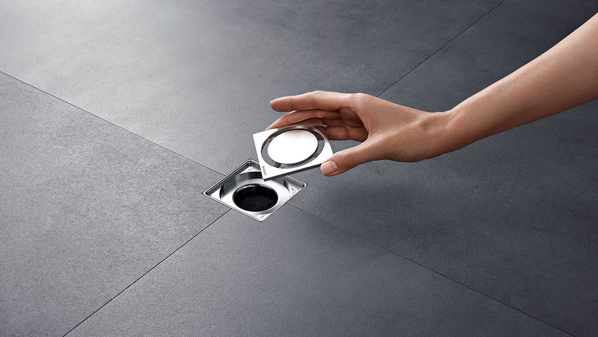 Removable cover of the Geberit shower floor drain