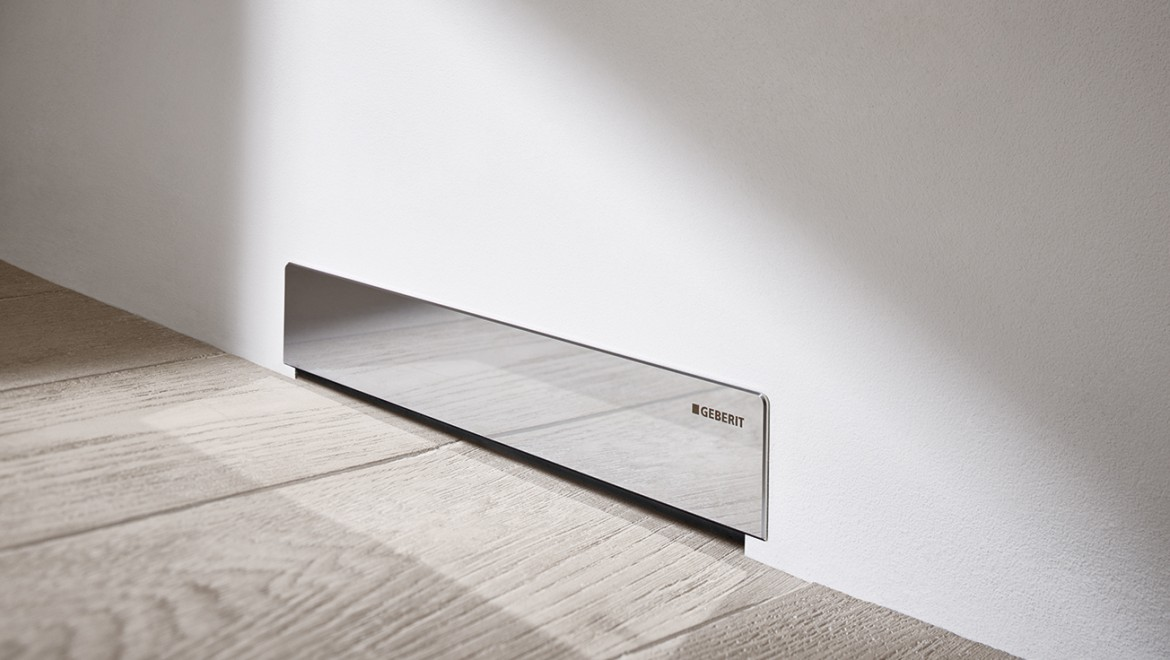 Geberit wall drain for showers with new surface made of polished stainless steel