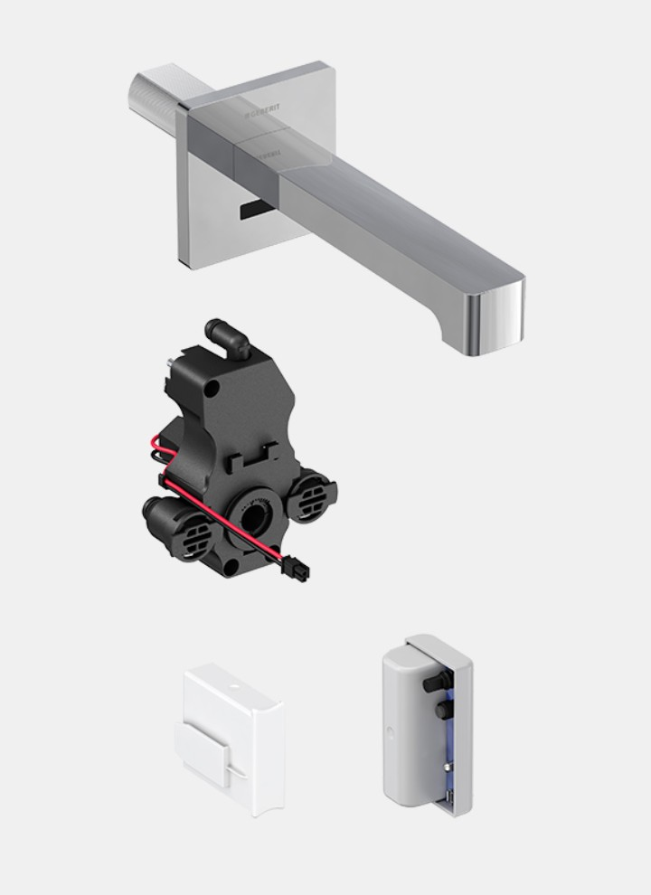 Geberit Brenta wall mounted tab with self-sustaining power supply