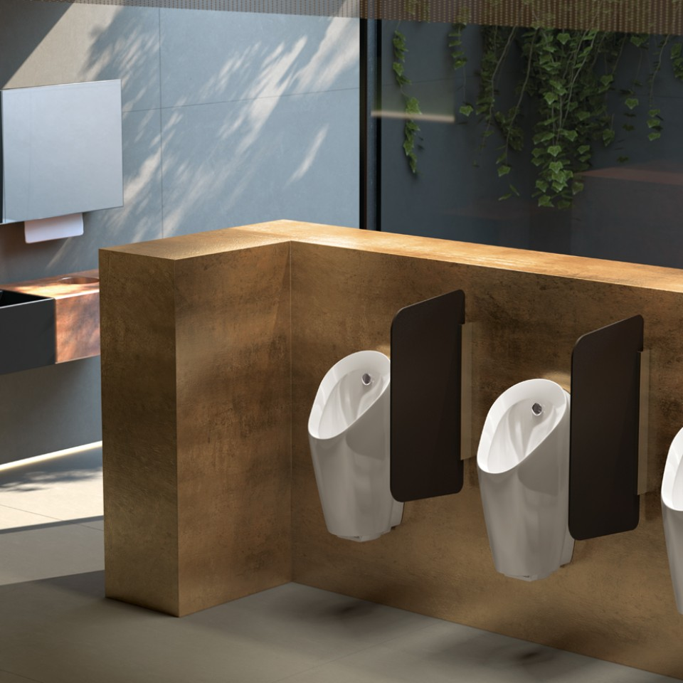 Geberit Preda urinals with integrated flush control