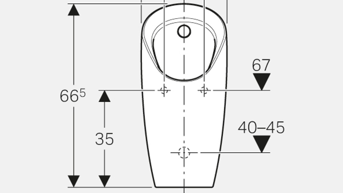 Dimensioning for the Geberit Preda urinal