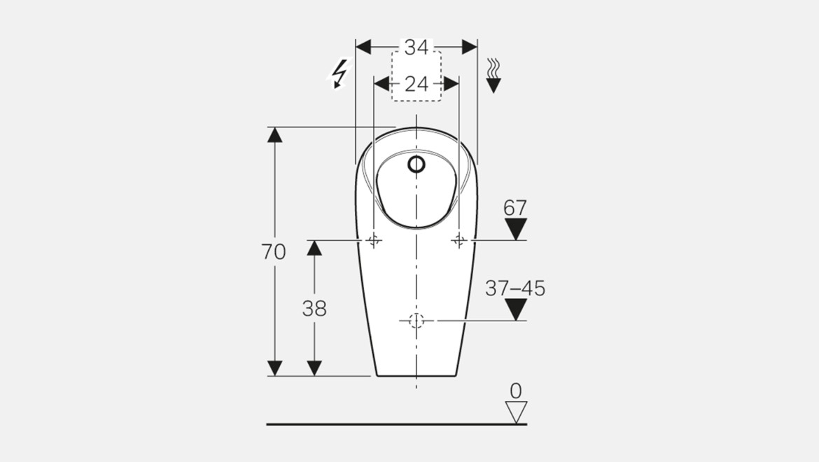 Dimensioning for the Geberit Selva urinal
