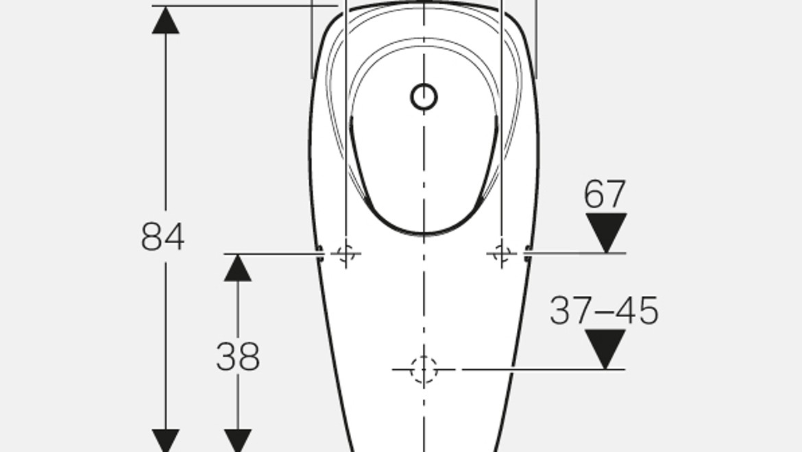 Dimensioning for the Geberit Tamina urinal