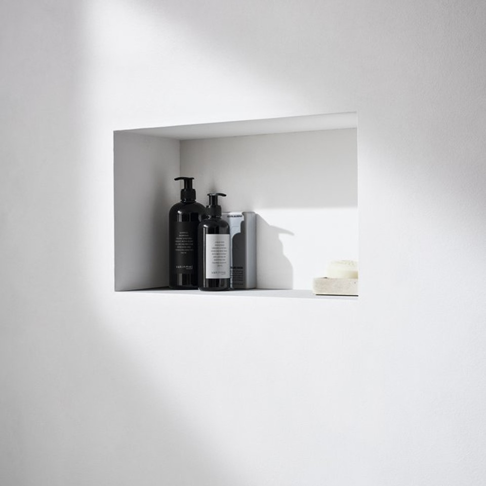 Geberit ONE shower solution with tile-bearing niche storage box