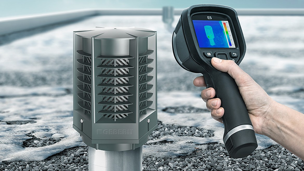 The thermal image shows that the Geberit energy retaining valve ERV minimises energy losses