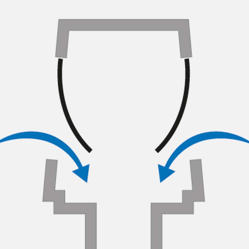 If negative pressure arises when a toilet is used, for instance, the diaphragms open and air flows into the system