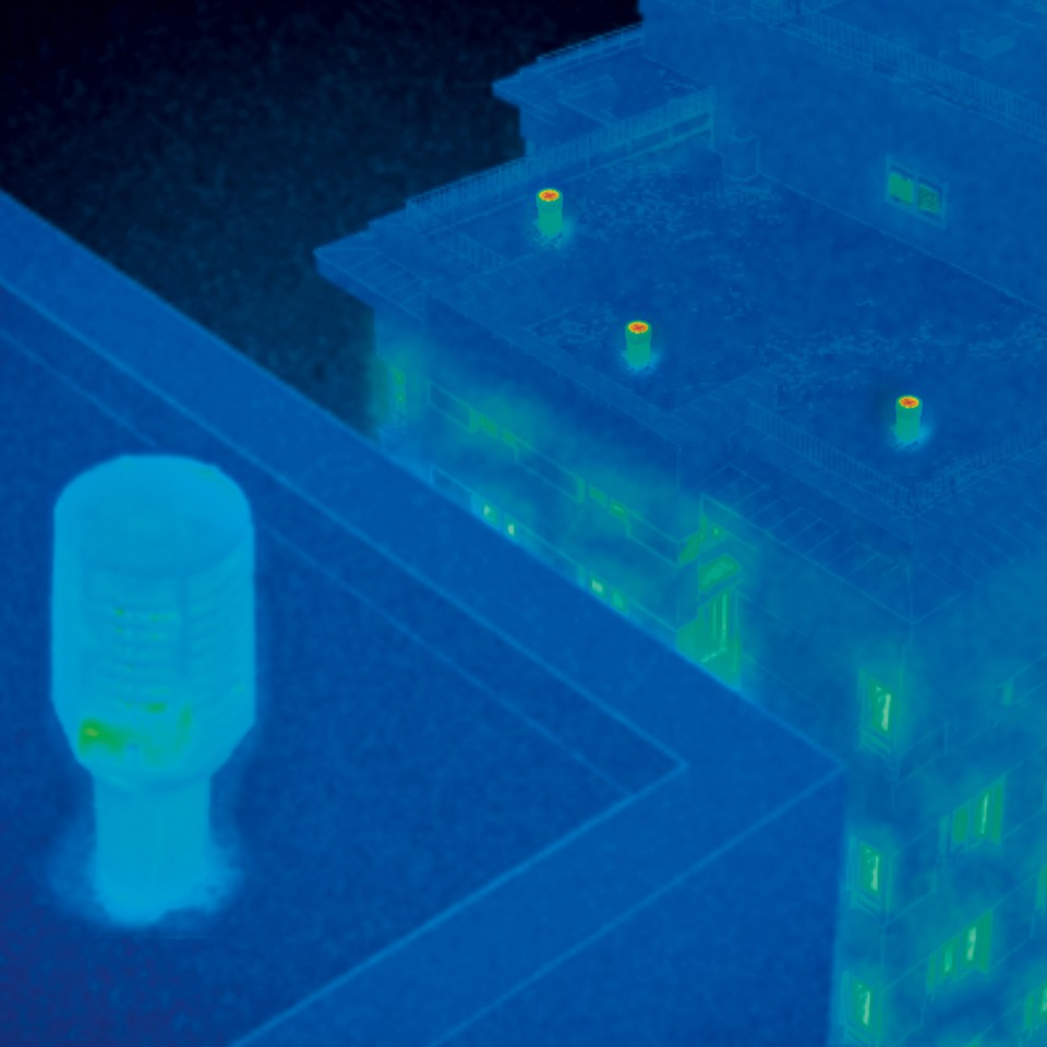 Thermal image of the ventilation pipes with Geberit energy retaining valve ERV and open at the top