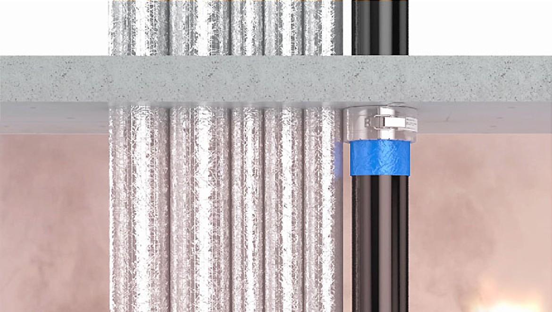 Obturation de tubes Geberit pour la protection incendie de colonnes montantes