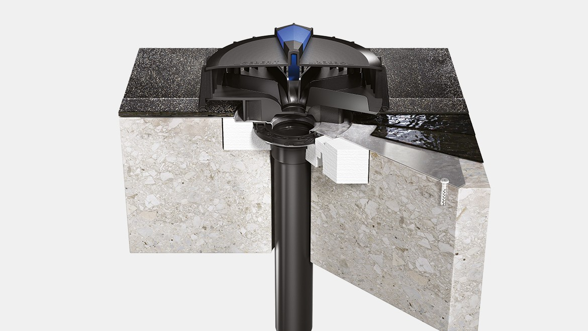 Geberit Pluvia Outlet for concrete roof with bitumen as water-bearing level