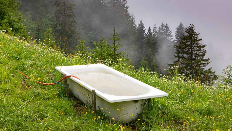 Badewanne im Grünen