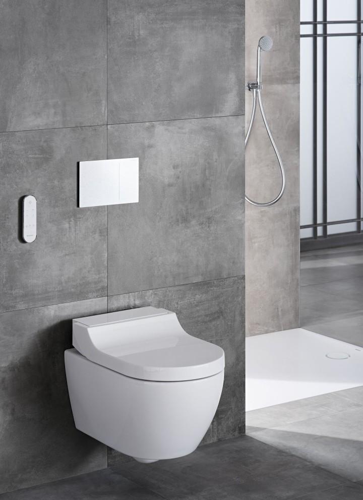 Dusch-WC Geberit AquaClean Tuma Classic in einem grauen Badezimmer